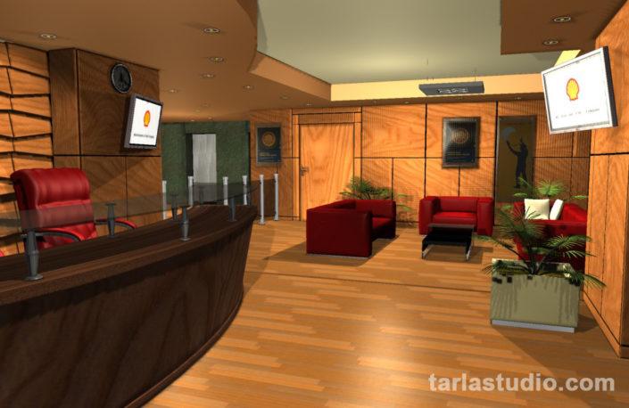 طراحی و اجرای دکوراسیون لابی شرکت شل،ساختمان اطلاعات