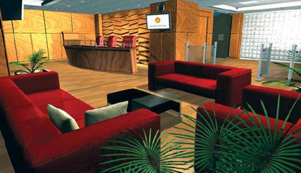دکوراسیون و معماری لابی شرکت شل